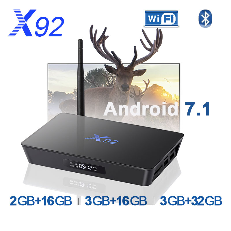 Free shipping X92 Smart TV Box Android 7.1 2GB 3GB 16GB 32GB CPU 5G Bluetooth H.265 with USB 2.0 Set Top Box pk X96mini