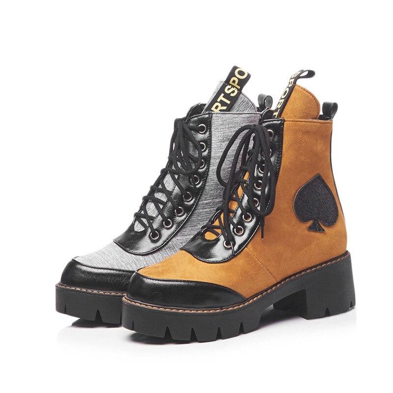 Nouvelle forme Chaussures Martin Cheville Lady Femelle Yd Croix Mode Bottes Automne ever Gris liée De Plate jaune Femmes Chaussure Marque QrtsCdh