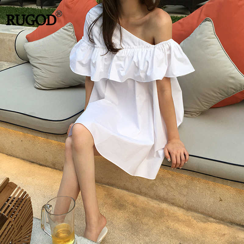 RUGOD 2019 Summer korea Chic Dress For Women Solid Loose Asymmetrical Female Dress Ruffles Cute Above Knee Mini Ladies Dresses