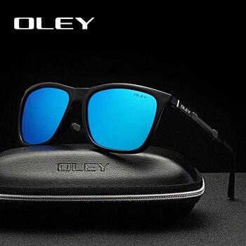 8ce658d03 Gafas de sol de marca OLEY para hombre polarizadas ultraligeras de aluminio  Material HD gafas de pesca antideslumbrantes de visión nocturna YA436
