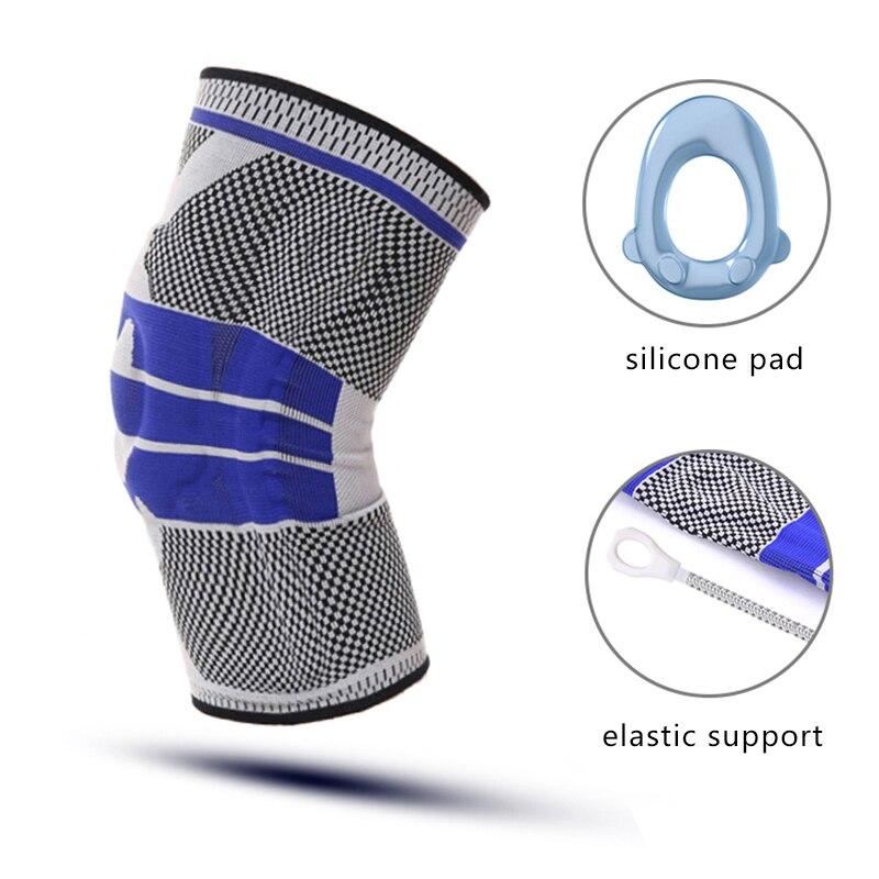 Rodilla de baloncesto de Anti-deslizamiento almohadilla de silicona soporte elástico rodilleras Protector de la rodilla de la correa