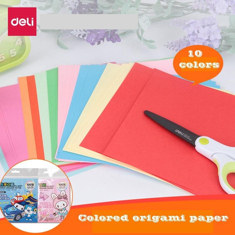100sheets/Bag Deli 6406/6407 Colored Origami Paper 10x 10 Colors 10x10cm 15x15cm Color Paper Children Origami Paper