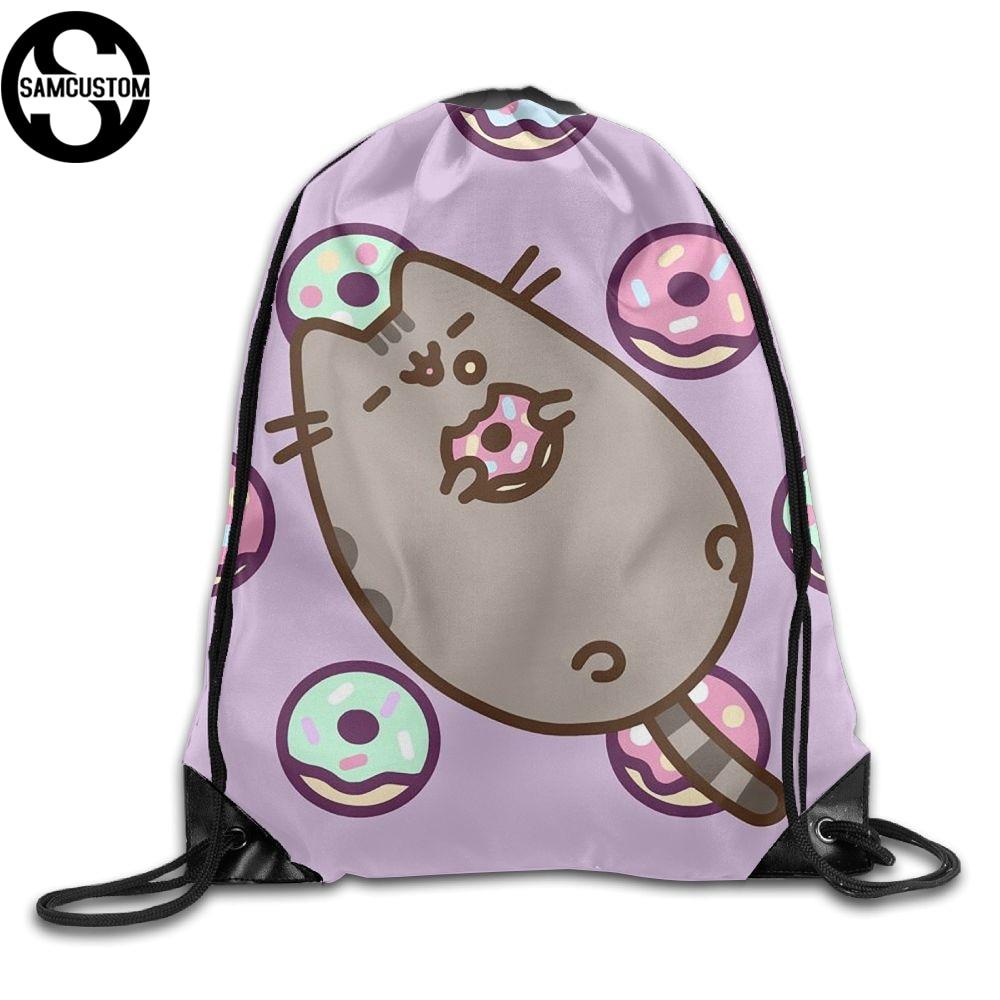 SAMCUSTOM pusheen Like to eat doughnuts Shoulders Bag Fabric Backpack men women Port Drawstring Travel Shoes Dust Storage Bags