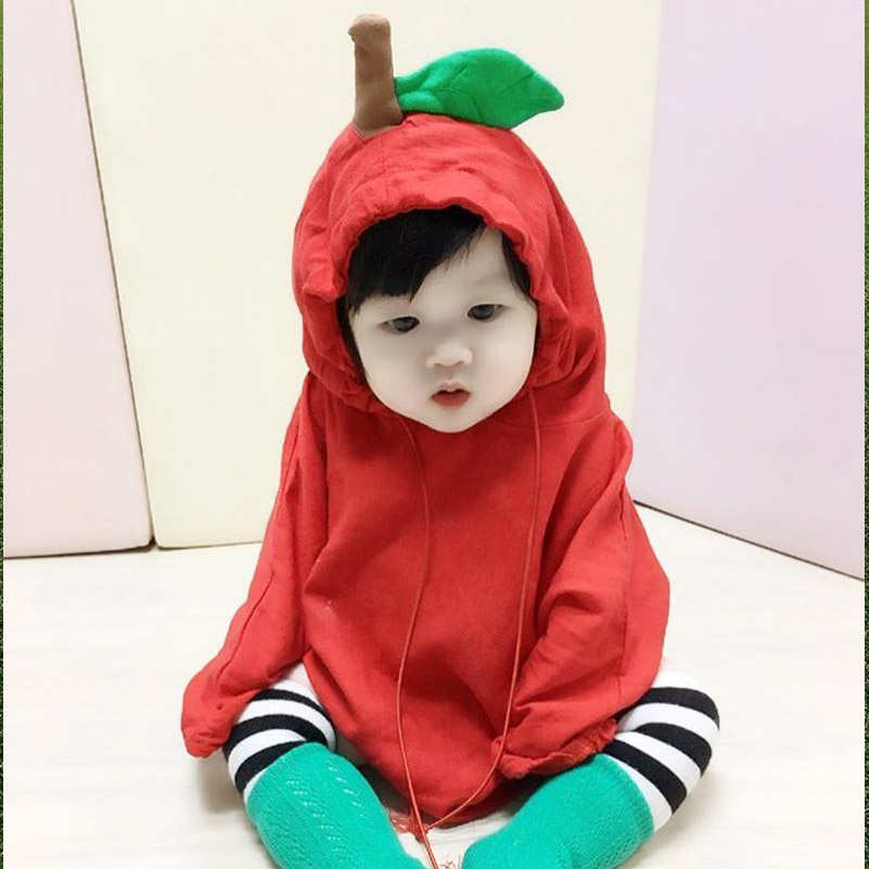 Autumn Toddler Baby Girl Clothes Cotton Infant Jumpsuits Cartoon Apple Design Unisex Newborn Baby Boys Girls Cute Hooded Romper cotton baby rompers set newborn clothes baby clothing boys girls cartoon jumpsuits long sleeve overalls coveralls autumn winter