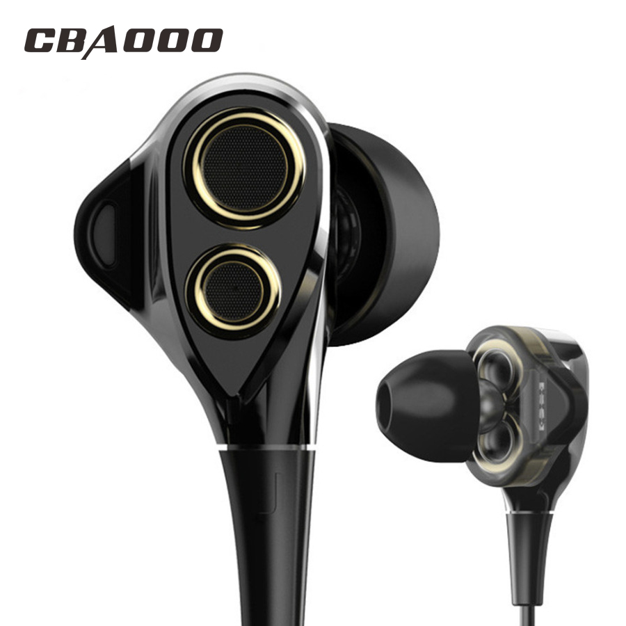 CBAOOO DT100 In-Ear Earphones HIFI Sport Stereo Bass Earbuds 4 Speakers Headset 3.5MM Wired Earphone for xiaomi iphone phone tebaurry tb6 dual unit driver earphone wired hifi stereo earphone for phone iphone 4 speakers super bass headset with microphone