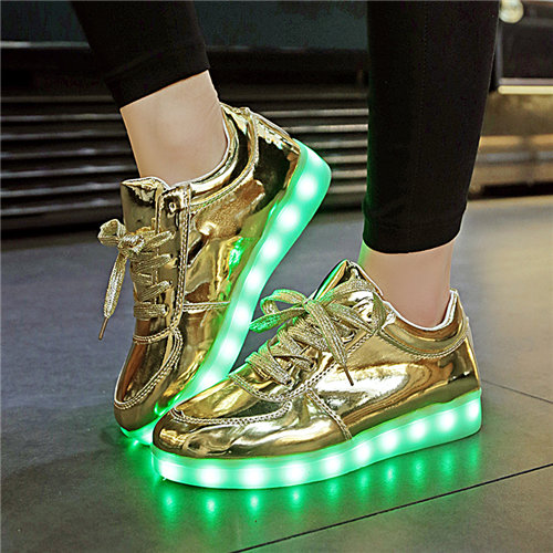 YPYUNA shining luminous led shoe boy girl with light sole kid light up sneakers led unisex usb charging silver glowing sneakers
