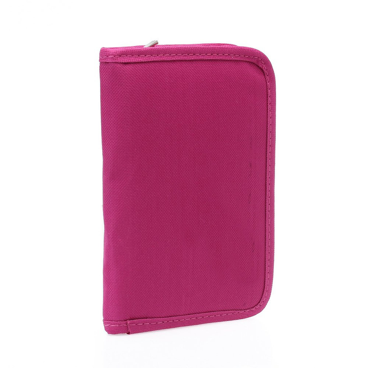 Women Multifunctional Canvas Clutch Bag Wallet Card Passport Holder Fuchsia