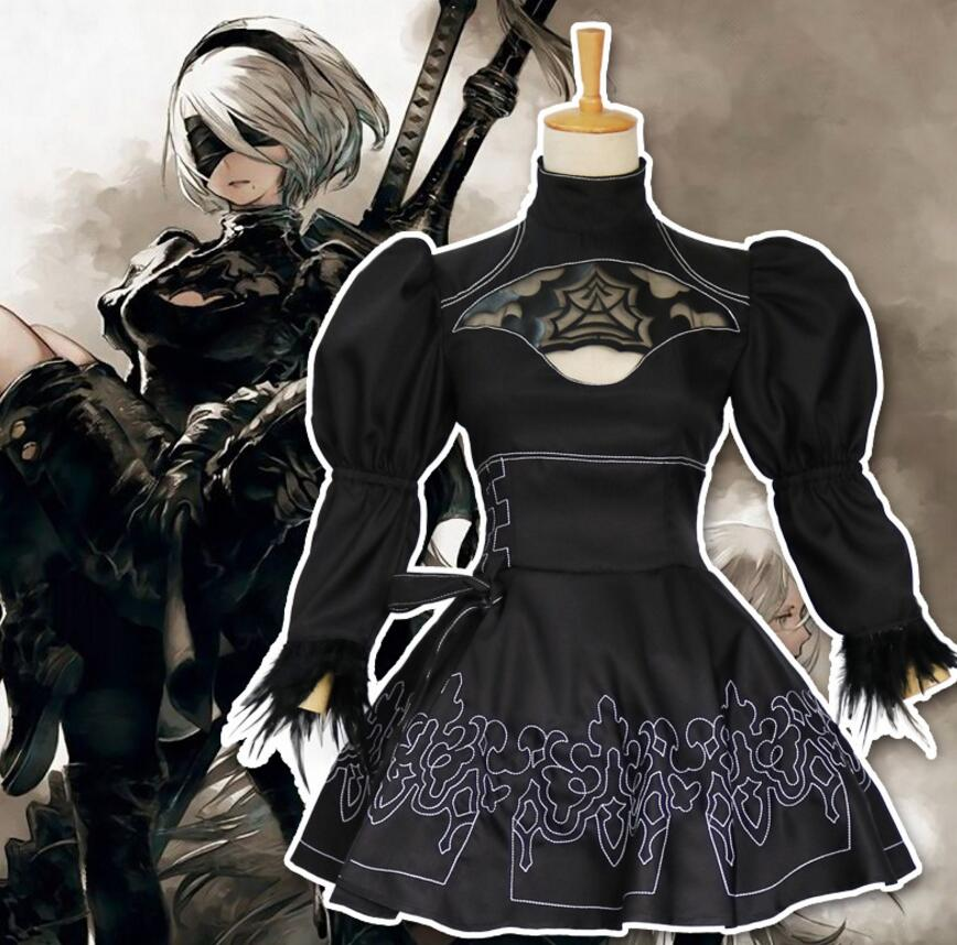 NieR:Automata 9S YoRHa No 9 Type B Outfit Cosplay Costumes Shoes Wig Halloween
