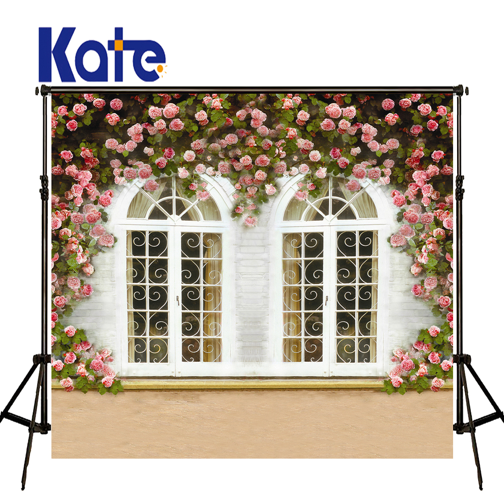 Фото Kate Flower Wall Wedding Backdrops Wooden Windows Background American Garden Villa Photo For Photography Studio