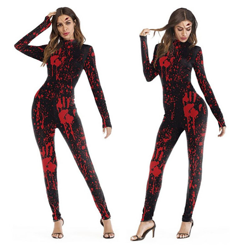 Adult Unisex Horror Costume Bloody Bodysuit Slim Romper Zipper Scary Jumpsuit Sexy Elastic Catsuit Halloween Costumes For Women