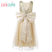 2017 Summmer Gifts Clothing Kids Girls Sleeveless Sequins Bow Tulle Flower Girl Dress Princess Pageant Birthday