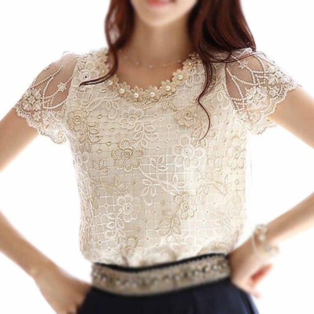 1825708026f036 SAF-Summer Women Chiffon Shirt Lace Tops Beading Embroidery O-Neck Tops  Blouse Shirt