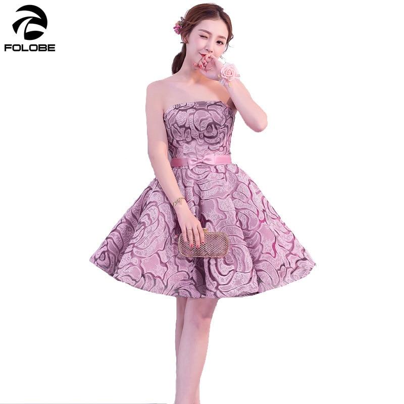 FOLOBE femmes Sexy rose sans bretelles arc élégant Midi robe formelle robe de soirée robes vintage robe femme