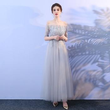 Grey Colour Elegant Bridesmaid Dresses Long Party Dress  Wedding Dress Off The Shoulder Back of Dandage printing off the shoulder flounce dress