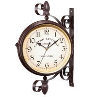 Nice Daily Wall Suspension Hanging Double Dial Alarm Clock Timer Bell Horologe Calculagraph Watch Retro Crafts