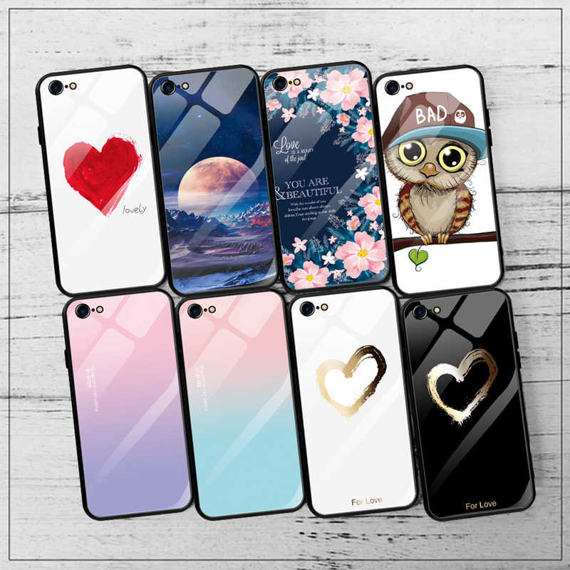 Luxury Pattern Tempered Glass Case For iPhone XS MAX XR X 7 8  6 6S Plus Full Protective HD Glass TPU Edge Cover Coque Capa