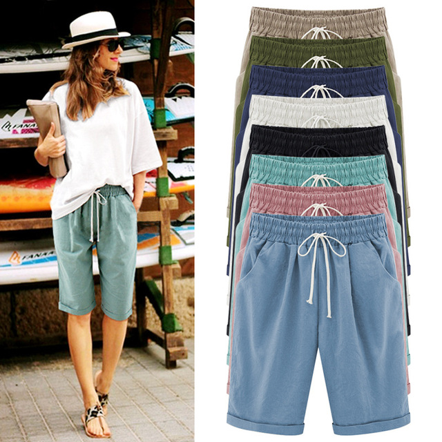 Summer Female Five Pants Thin Outer Wear Pants Large Size Women Slacks 6XL Casual Pants Harem Pants Beach Wear