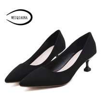 WEIQIAONA 2019 New Spring Women Shoes Elegant OL Mid Heels Flock Shallow Commuter Working Shoes Thin Heel Pointed Toe Pumps(China)