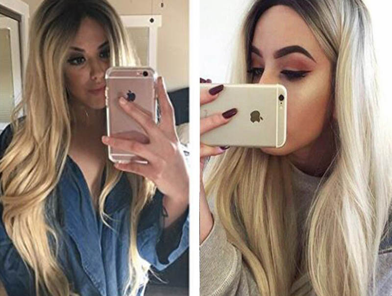 fashion natural wave wigs blonde synthetic lace front wig dark roots heat resistant fiber synthetic ombre hair for balck women