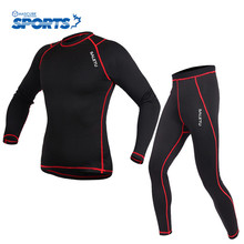 Running T Shirt and Pants Tights Underwear Sets Winter Base Layers Outdoor Sports Suits Fitness Jerseys Keep Warm Workout