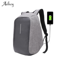 Aelicy Men Laptop Backpack External USB Charge Anti Theft Backpack Large Capacity Students Canvas School Bags