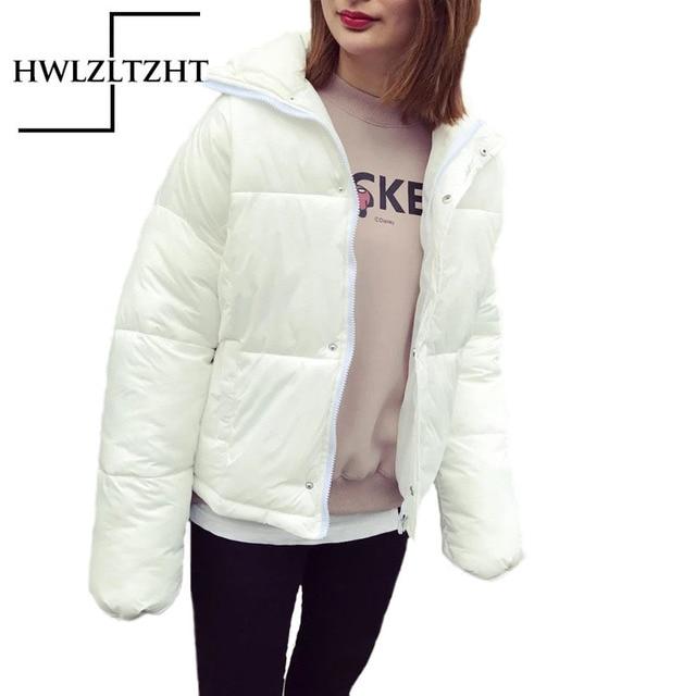 Europen Fashion Autumn Winter Solid Bomber Jacket Coat Women Splicng Student Zipper Pocket Slim Down Parka Casual Slim Parkas
