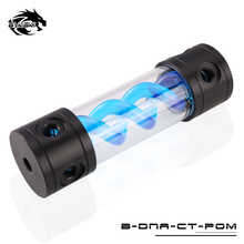BYKSKI Length 180MM/260MM X 50MM Reservoir POM+PMMA Acrylic Double Helix T-Virus Cylindrical Water-Cooled Coolant Tank Blue-DNA