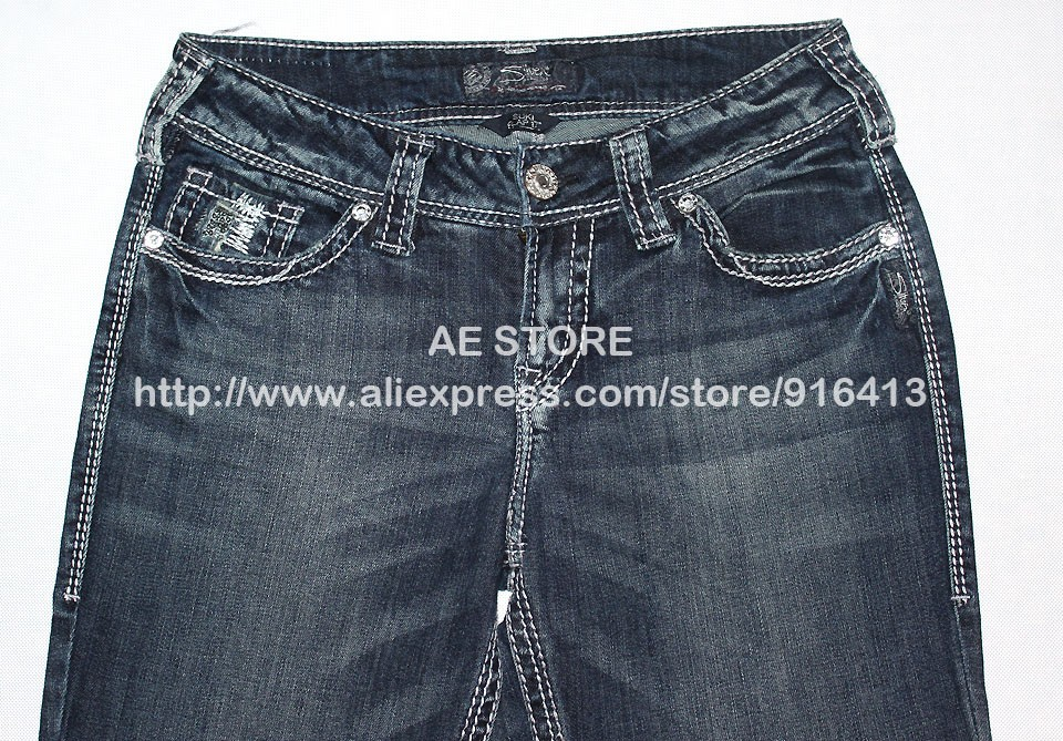 c080c655 2019 100% Original Silver Jeans Woman Boot Cut Famous Brand Flared ...