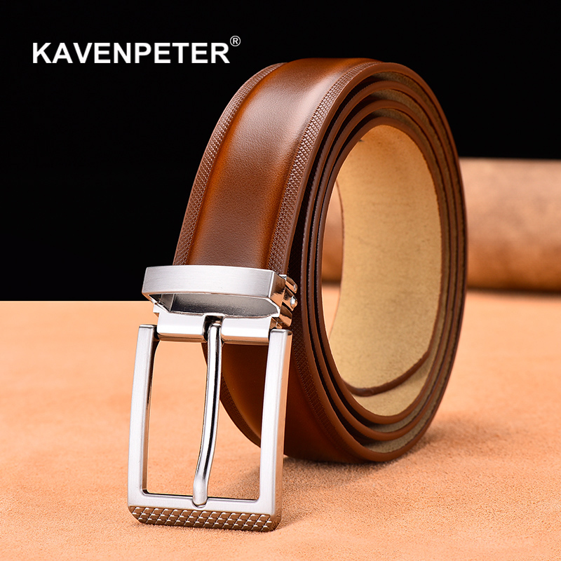 Genuine Leather For Men High Quality Silver Buckle Jeans   Belt   Cowskin Casual   Belts   Business   Belt   Cowboy Waistband