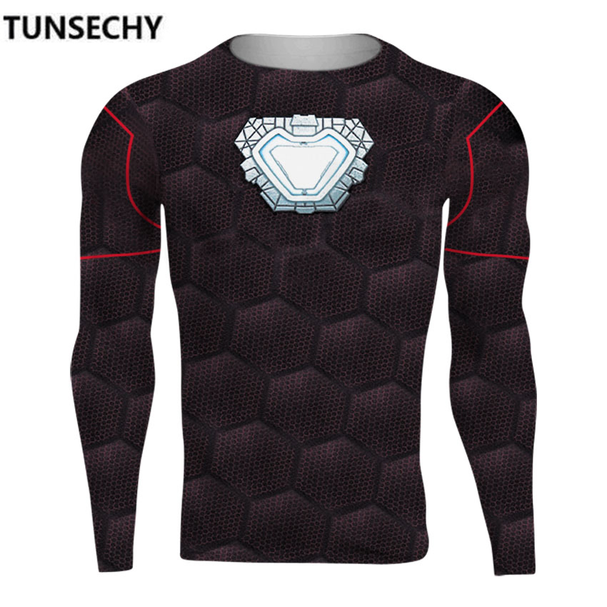 TUNSECHY Avengers Alliance 3 Iron Man 3D Printed T shirts Men Compression Shirts Crossfit Top For Male Costume Clothing T-shirts
