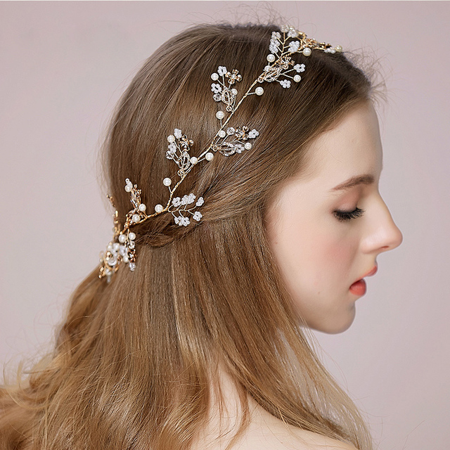 2017 New Bridal Hair Accessories Band Las Wedding Wreath Womens Gold Fl Bands Female Headband