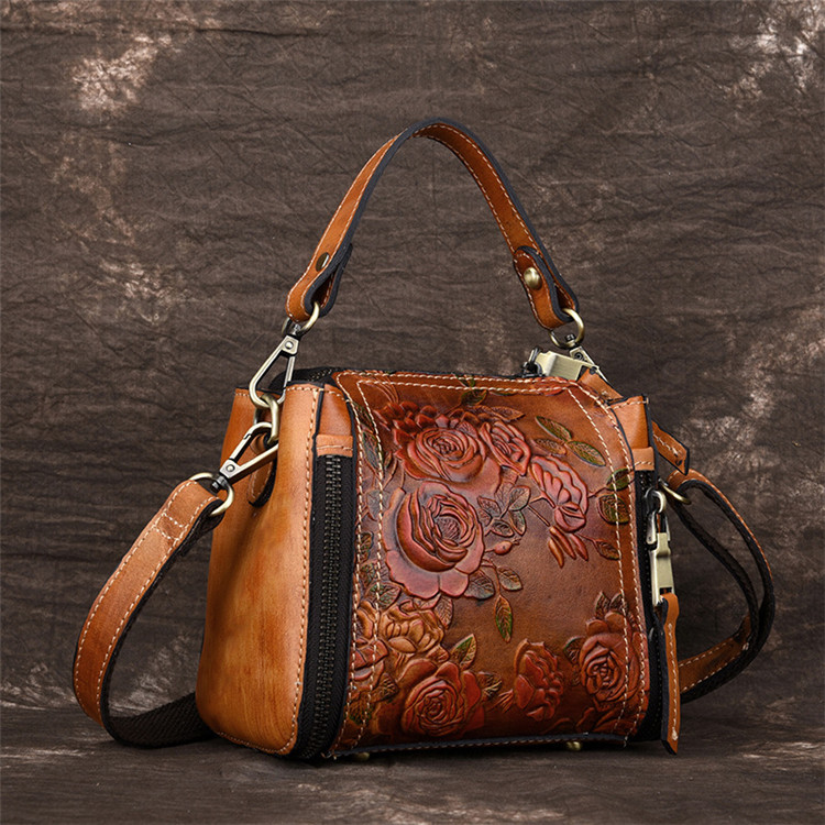 2018 genuine leather women's bucket bag manual embossing cowhide leather handbag lady's shoulder bag