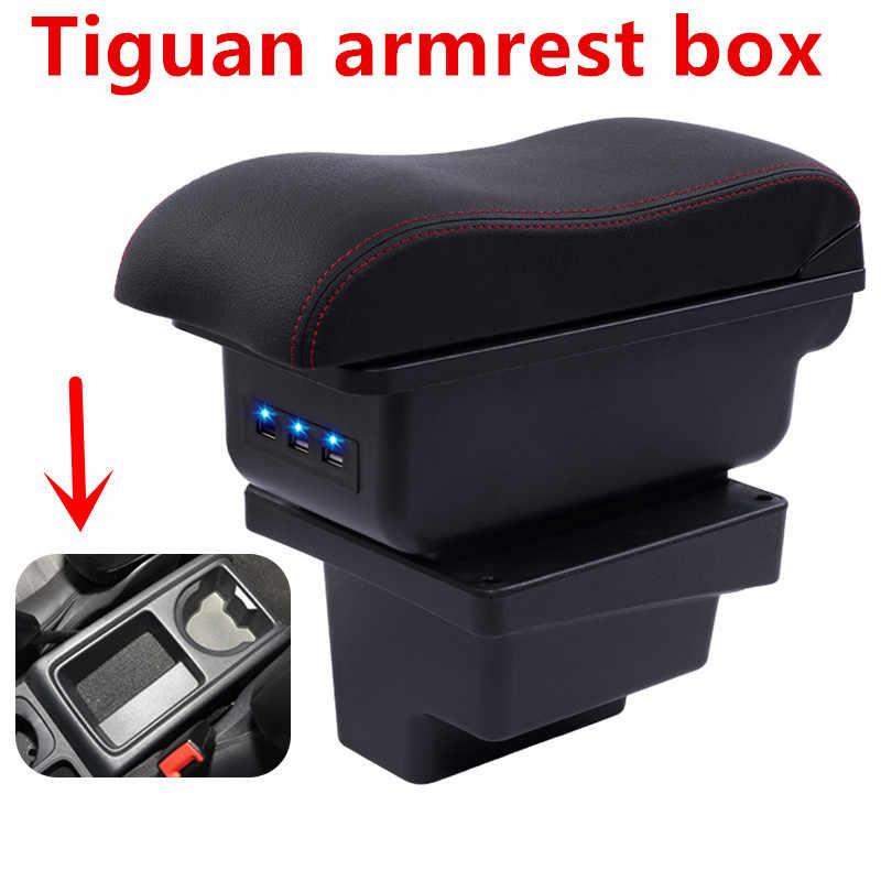 Para vw tiguan i 2007-2016 braço resto centro de couro caixa de armazenamento console central 2008 2009 2010 2011 2012 2013 2014 2015