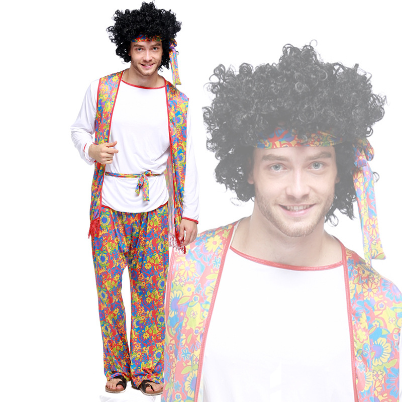 Umorden Groovy Hippie Costume for Men Adult 70s Costumes Halloween Party Carnival Fancy Cosplay