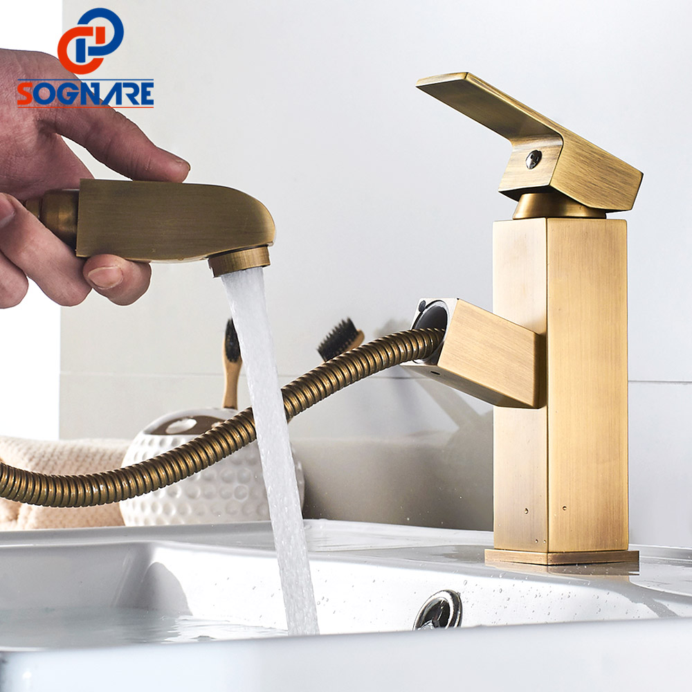 SOGNARE Vanity Bathroom Faucet Brass Antique Pull Out Basin Mixer Washbasin Water Tap Pull Down Sink Mixer Hot Cold Water CraneSOGNARE Vanity Bathroom Faucet Brass Antique Pull Out Basin Mixer Washbasin Water Tap Pull Down Sink Mixer Hot Cold Water Crane