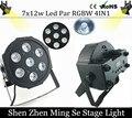 Быстрый 7x12 доставка Вт led Par света RGBW 4in1 плоским пар led dmx512 диско свет профессиональной сцене dj оборудование