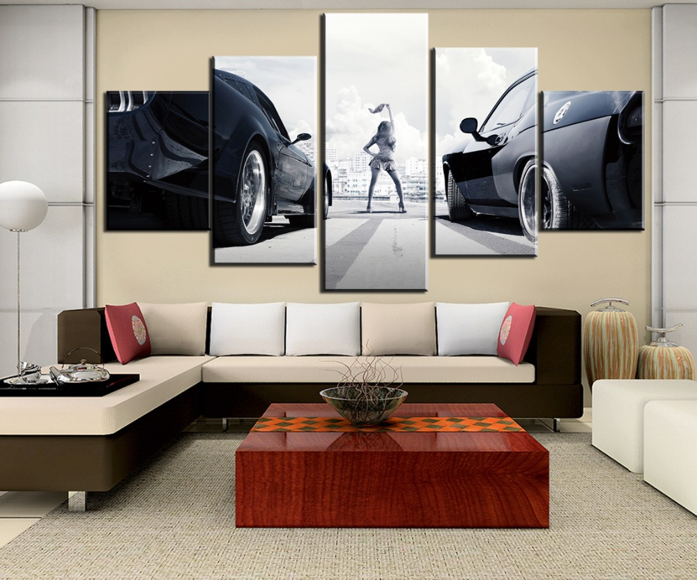 5 Pieces Canvas Painting Furious Cars Room Decoration Print Painting Canvas Wall Art Picture Home Decoration Living Room in Painting Calligraphy from Home Garden