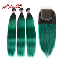 ALI ANNABELLE HAAR Ombre Straight Bundels Met Sluiting 1B/Groen Menselijk Haar Weave Braziliaanse Straight Haar 3 Bundels Met sluiting