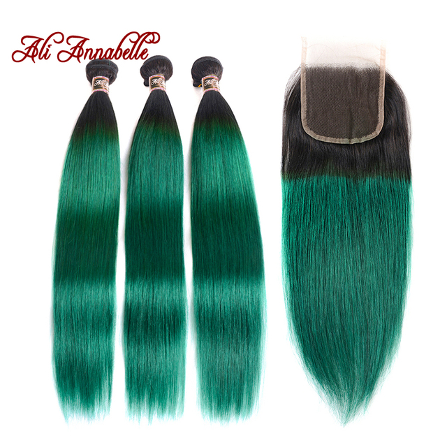 Ali Annabelle Hair Ombre Straight Bundles With Closure 1bgreen