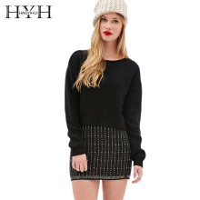 HYH HAOYIHUI Autumn&Winter Women Sweater Crew Neck Simple Style Pullover Preppy Chic Sweet  Long Sleeve Short Casual