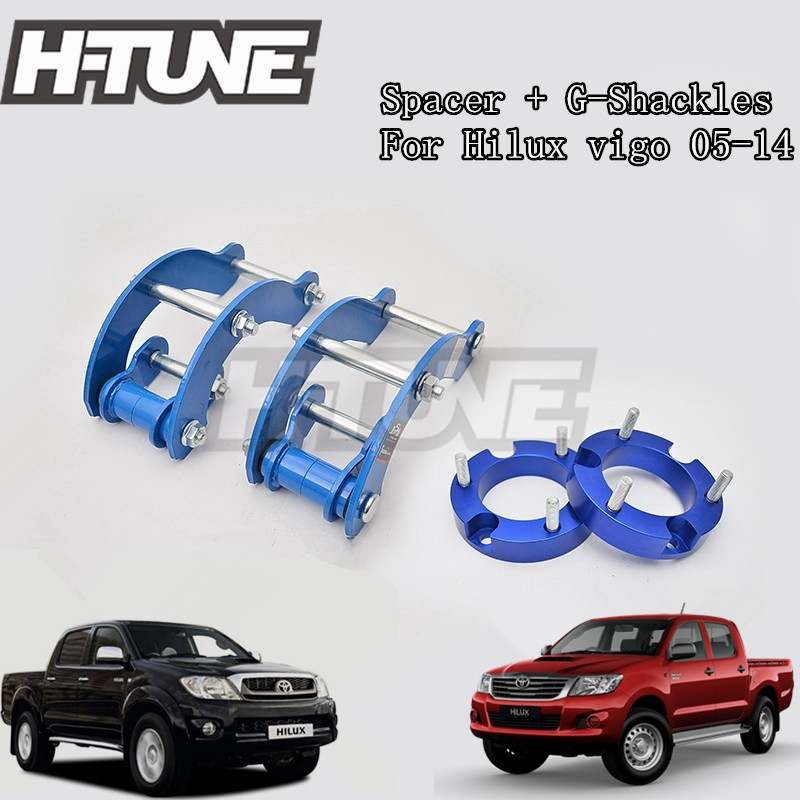 H-TUNE 4x4 Accesorios 32mm Front Spacer and Rear Extended 2 inch G-Shackles Lift Up Kits 4WD For Hilux Vigo 05-14 h tune 4x4 accesorios 1inch suspension lift kits front coil strut shock spacer for d max 2007 2010