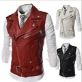Plus size XXL  2014 new personalized men's Leather Vest multi-zipper large lapel men Slim Short  Waistcoats  outerwear