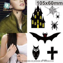 Black Owl Bat Waterproof Temporary Tattoo Sticker Taty For Women Men Rocooart Hand Neck Water Transfer Flash Fake Tattoo Decals(China)