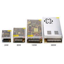 Transformador de iluminação 12v, adaptador de comutação da fonte de alimentação 15w 24w 60w 120w 360w de alumínio para fita de luz do diodo emissor de luz linghting.
