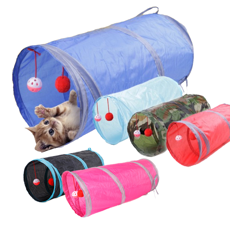 6 Color Pet Cat Tunnel 2 Holes Play Tubes Balls Interesting Pet Dog Tunnel Tube Folding Channel Training Rolling The Ground