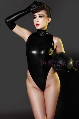 2017 New Hot Sexy Faux Leather Ammonia Latex High collar Sleeveless Thong Bodysuit Teddy Top One Piece Underwear for Women