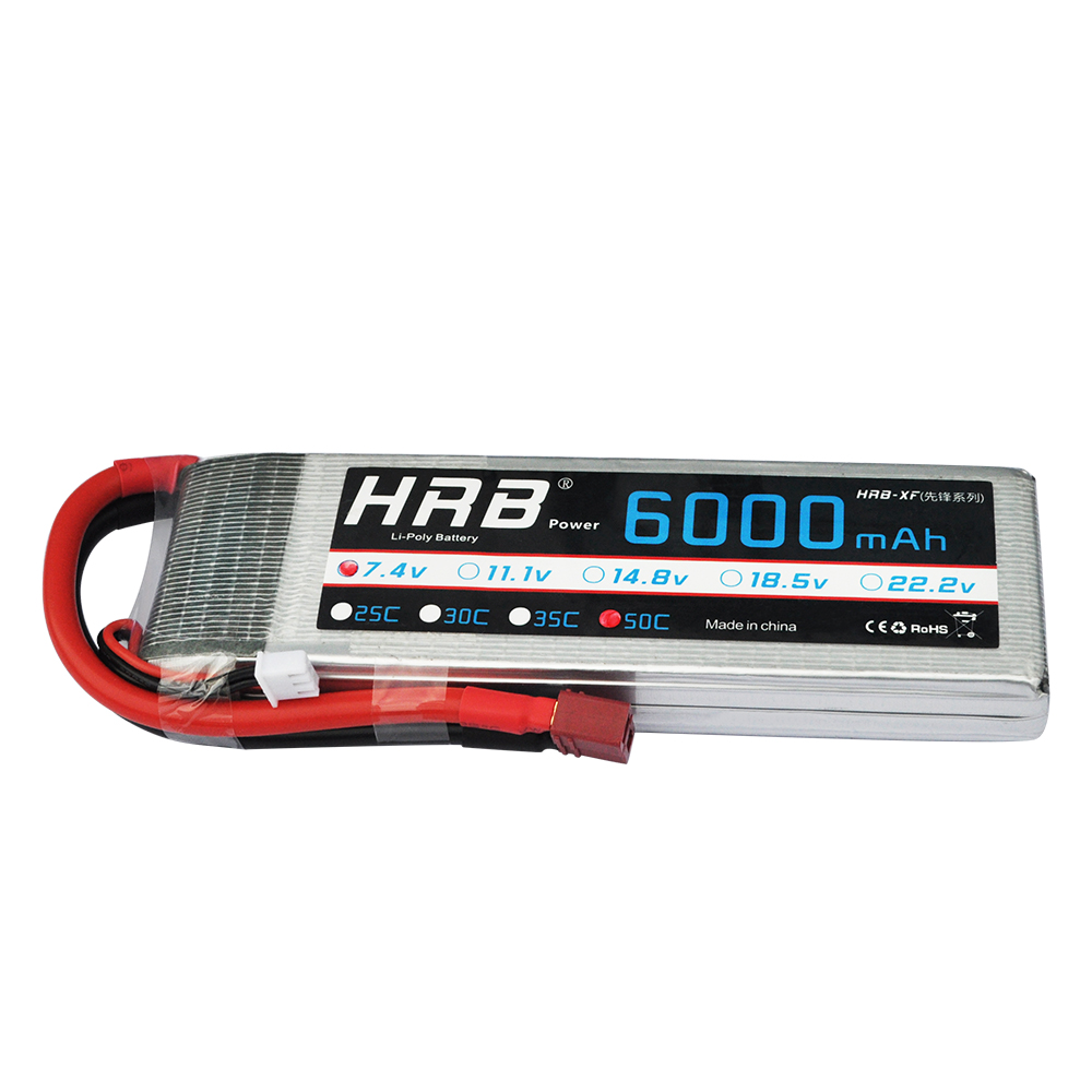 F-Cloud HRB RC <font><b>LiPo</b></font> Battery 7.4V <font><b>6000mAh</b></font> 50C 100C <font><b>2S</b></font> Bateria for Helicopter Quadcopter Airplane Boat Plane image