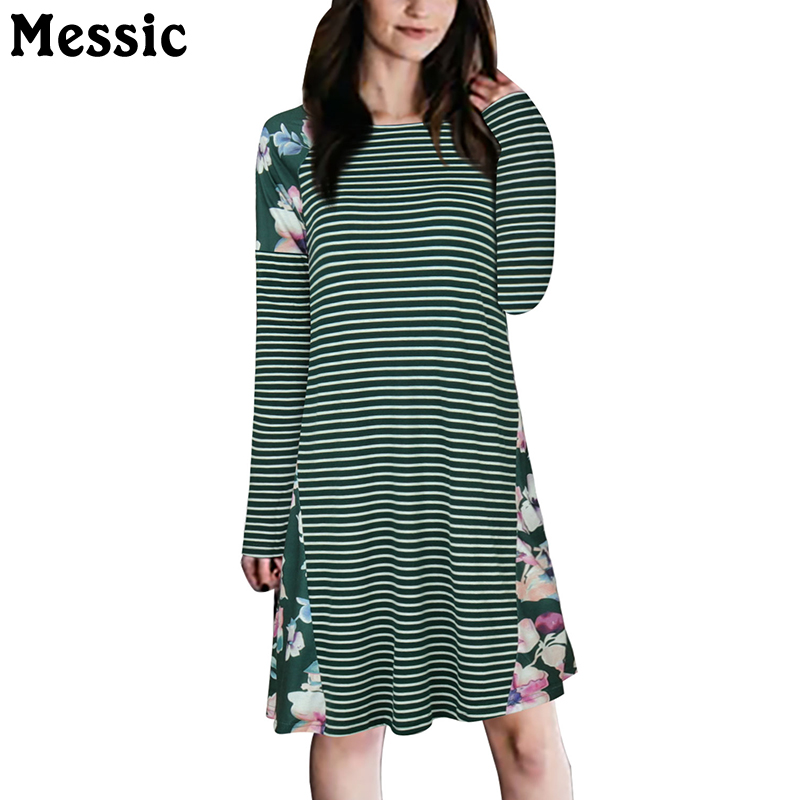 Messic Casual Loose Knitted Striped Dress Women 2018 Autumn Winter Long Sleeve Floral Robe Femme O Neck Midi T Shirt Dresses knitted pockets women sweater mini dress v neck long sleeve dresses autumn winter 2018 loose robe femme plus size gv063