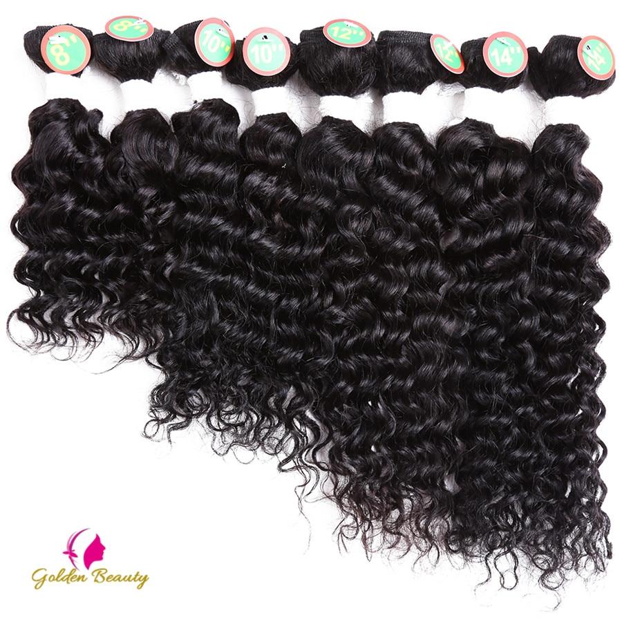 Golden Beauty Deep Wave Sy i hårförlängningar Syntetisk hårväv 8-14inch 8st / pack för ett huvud