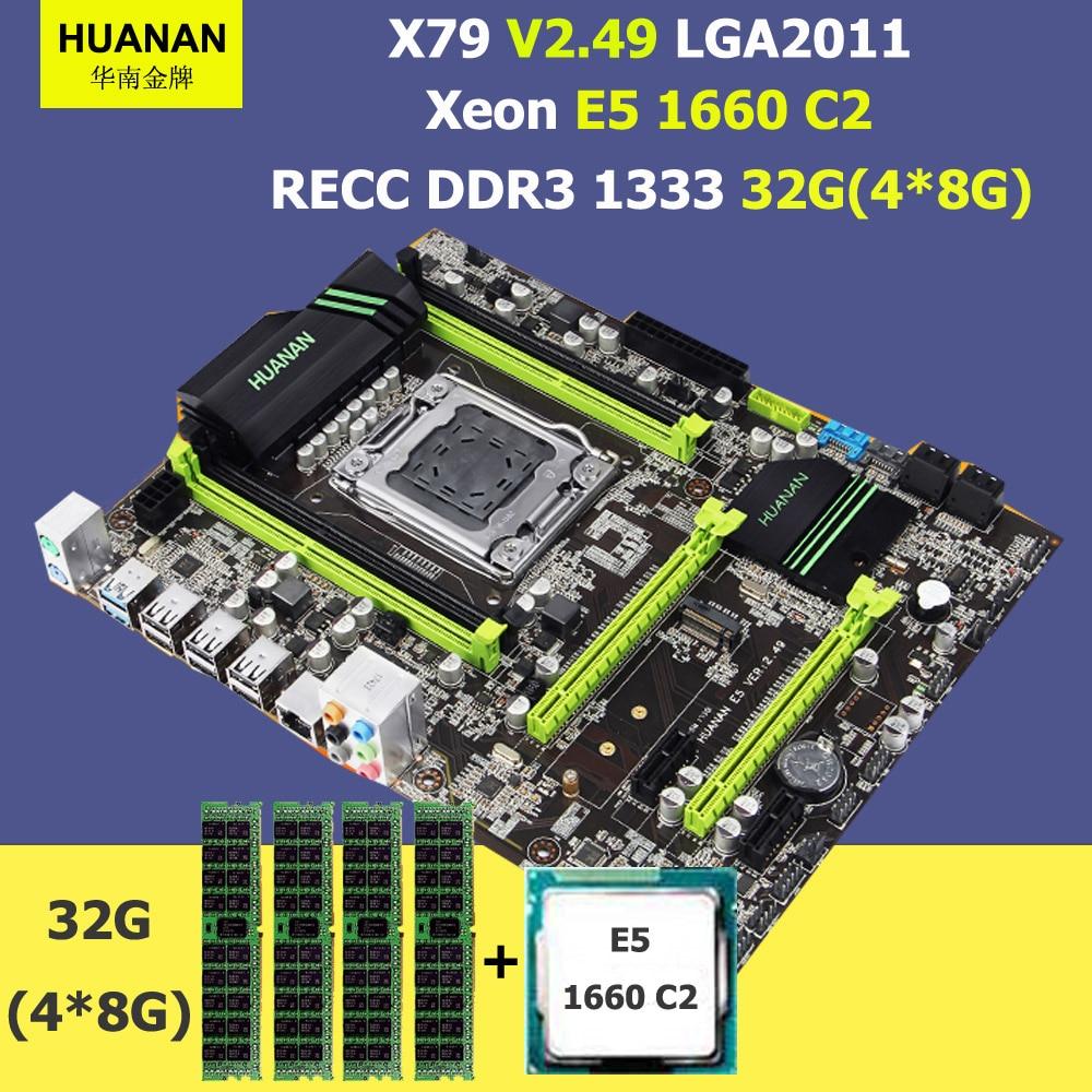 HUANAN ZHI X79 motherboard X79 LGA2011 motherboard with M.2 slot CPU Intel Xeon E5 1660 3.3GHz RAM 32G(4*8G) DDR3 1600 REG ECC